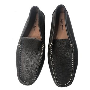 Bacco Bucci pebbled leather brown slip on loafers